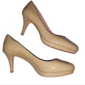Vince Camuto nude shiny leather heels - Women's 10